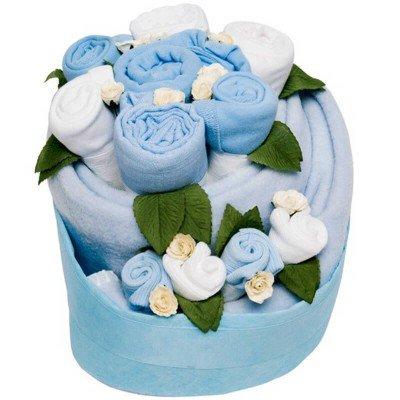 Magical Light Blue Celebration Baby Clothes Cake