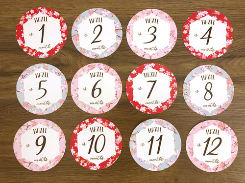 Pink Baby Clothes Bouquet & 12 Personalized First Year Belly Stickers (Kimono Print)