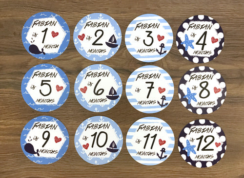 Blue Baby Clothes Bouquet & 12 Personalized First Year Stickers (Nautical Print)