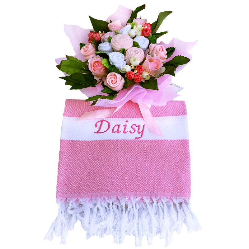 A Sugar Pink Baby Clothes Bouquet & Personalized Blanket