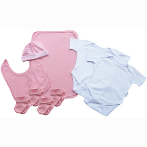 A Sugar Pink Baby Clothes Bouquet and Inkless Print Kit Gift Hamper
