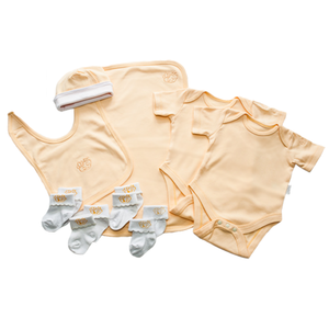 Neutral Yellow Baby Clothes Bouquet and Inkless Print Kit Gift Hamper