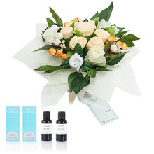 Load image into Gallery viewer, Mama & Baby - Neutral Yellow Bouquet with Relaxing Body & Bath Oils Gift Hamper