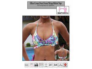 gigipatterns, gigi fashion designer youtube, Eliza Cross Over Front Wrap Bikini Top Pattern - PDF SEWING PATTERN, swimsuit pattern