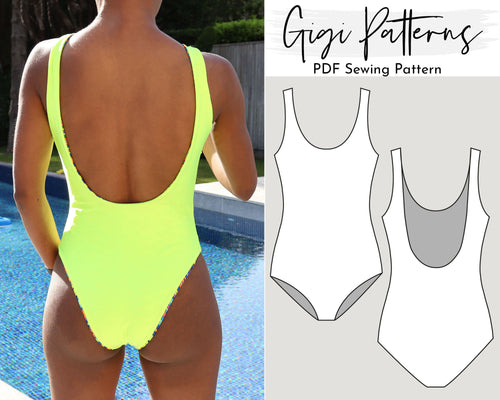 Gisela Low Back High Cut One Piece Swimsuit Pattern, SWIMSUIT PATTERN