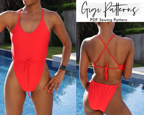 Gi High Cut One Piece Swimsuit Pattern, SWIMSUIT PATTERN