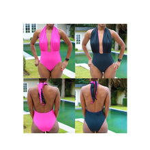 Load image into Gallery viewer, Ruched halter neck one-piece swimsuit, pdf sewing patterns, sewing patterns, gigipatterns, how to make bikini, diy bikini