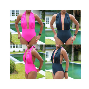 Ruched halter neck one-piece swimsuit, pdf sewing patterns, sewing patterns, gigipatterns, how to make bikini, diy bikini