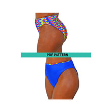 Load image into Gallery viewer, gigipatterns, Reversible swimsuit, Bandeau bikini bottoms, High Cut legs Bikini, high waisted sewing patterns, tummy control swimsuit,  DIY Swimsuit,  Swimsuit Patterns, pdf sewing patterns, plus size