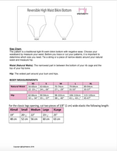 Load image into Gallery viewer, swimsuit size chart, gigipatterns, Reversible swimsuit, Bandeau bikini bottoms, High Cut legs Bikini, high waisted sewing patterns, tummy control swimsuit,  DIY Swimsuit,  Swimsuit Patterns, pdf sewing patterns, plus size