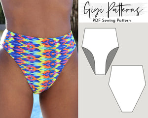 High Cut Leg High Waist Bikini Bottom Reversible Seamless Pattern, SWIMSUIT PATTERN