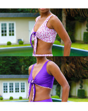 Load image into Gallery viewer, GigiPatterns Lily tie front bow bikini top swimsuit PDF sewing pattern, reversible, seamless and available in size XS- 5XL plus size.