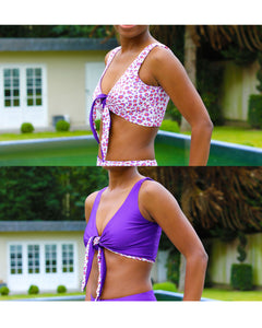 GigiPatterns Lily tie front bow bikini top swimsuit PDF sewing pattern, reversible, seamless and available in size XS- 5XL plus size.