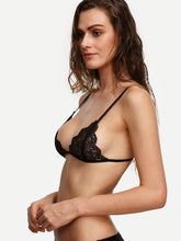 Load image into Gallery viewer, Black Scalloped Lace Triangle Bralet