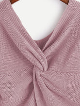 Load image into Gallery viewer, V Neckline Twist Front Sweater