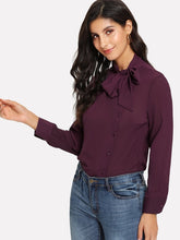 Load image into Gallery viewer, Tie Neck Chiffon Shirt Blouse