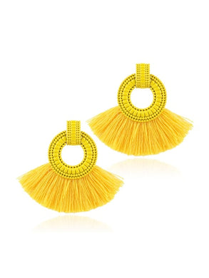Tassel Decorated Hoop Drop Earrings
