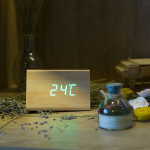 Bamboo Wood Alarm Clock