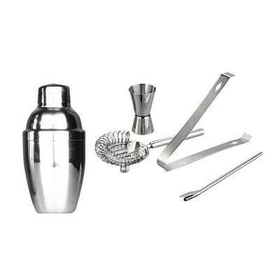 5pcs Set Stainless Steel Cocktail Shaker Bar Party