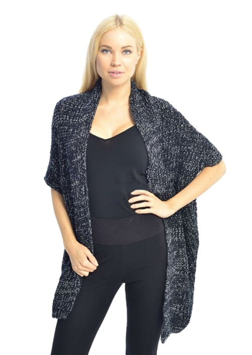 Women's Oversized Warm Black Crochet Knit Sweater