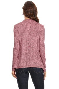 Women's Ribbed Cardigan Short Draped Open Front