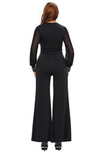Load image into Gallery viewer, Black Embellished Cuffs Mesh Long Sleeves Wide Leg