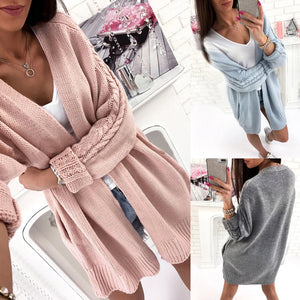 Women Autumn Winter Long Sleeve Solid Knitted Sweater Pullover Blouse Tops