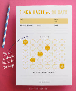 Printable Habit Tracker Kit Instant download to help you build amazing habits and routines