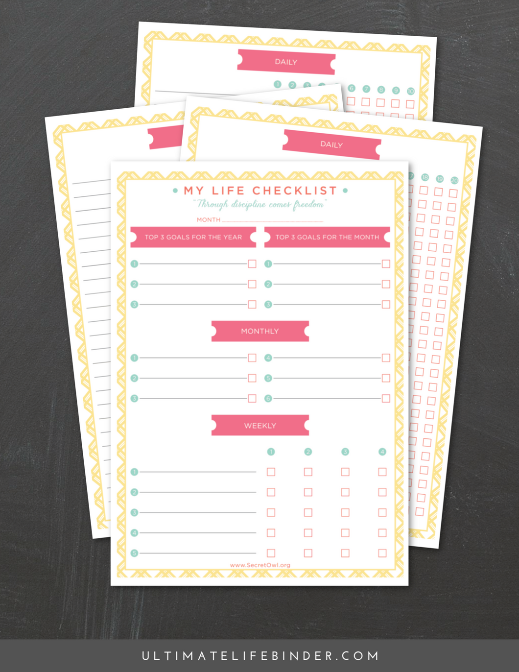 This nifty printable set breaks down your goals for the year into monthly, weekly, and daily objectives.