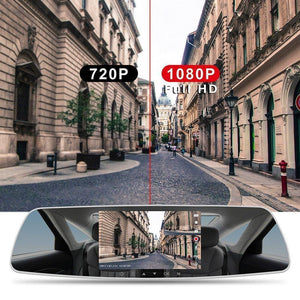 "7"" Dash Cam Car Camera DVR Dual Lens Rearview Mirror Video Recorder Full HD 1080P"
