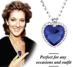 Romantic Blue Sapphire Heart Crystal Necklace