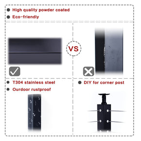 "Muzata cable railing black square post T304 stainless steel 42""x2""x2""PS01 BN4L"