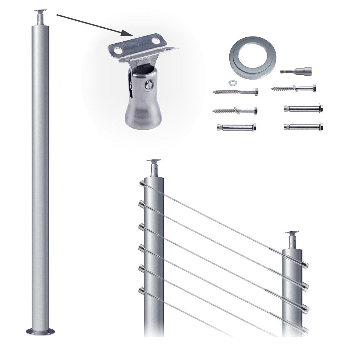 """Muzata cable railing post T304 stainless steel 41""""x2.3 ..."""