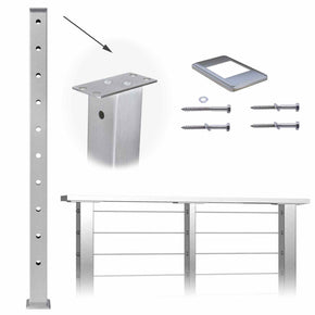 "Muzata Cable Railing Post Square Weldless Flat top 42""x2""x2"" Stainless Steel Brushed Pre-Drilled Posts PS02 LH4L"