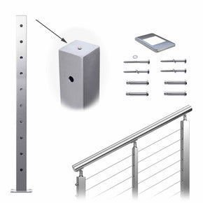 "Muzata Cable Railing Post Stair Square Weldless 36""x2""x2"" Stainless Steel Brushed Pre-Drilled 30 Degree Angle Holes Posts, PS01 LA4S PT1 PT6"