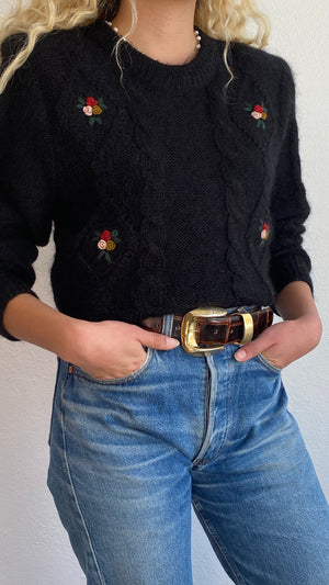 Vintage Mohair Rosette Pullover - Size Sm to Med