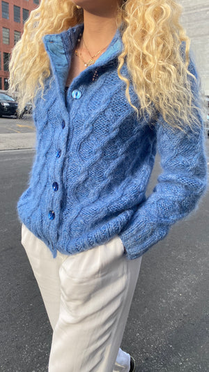 Vintage British Bluebell Mohair Cardigan - Size Small to Medium