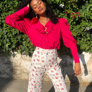 Satin Rose Sailor Trouser - AT COST $25 FINAL SALE
