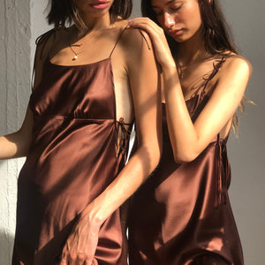 Holly Silk Dress in Chocolate *matching mask optional*