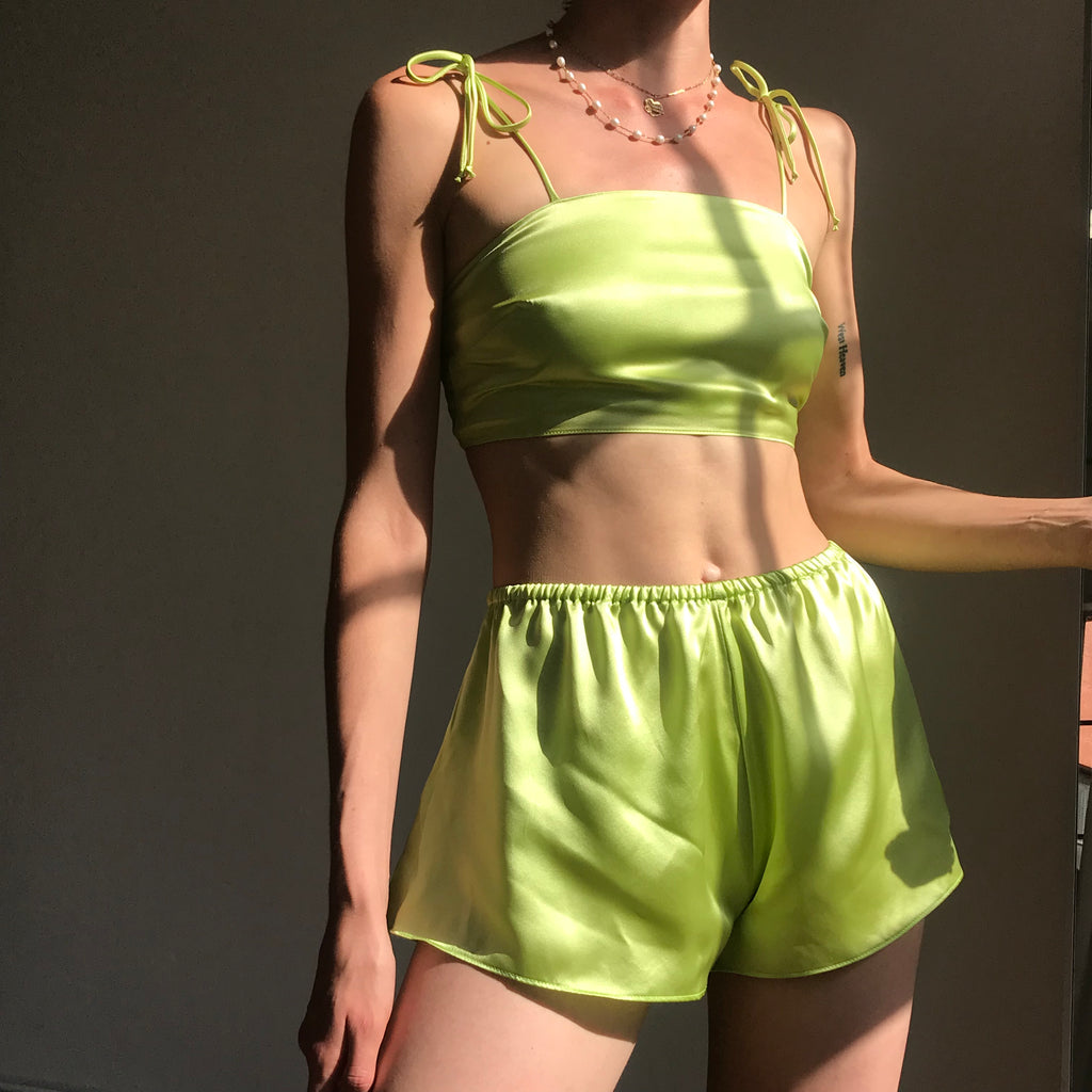 Kiwi Silk Bralette And Tap Shorts AT COST STARTING AT $72 FINAL SALE