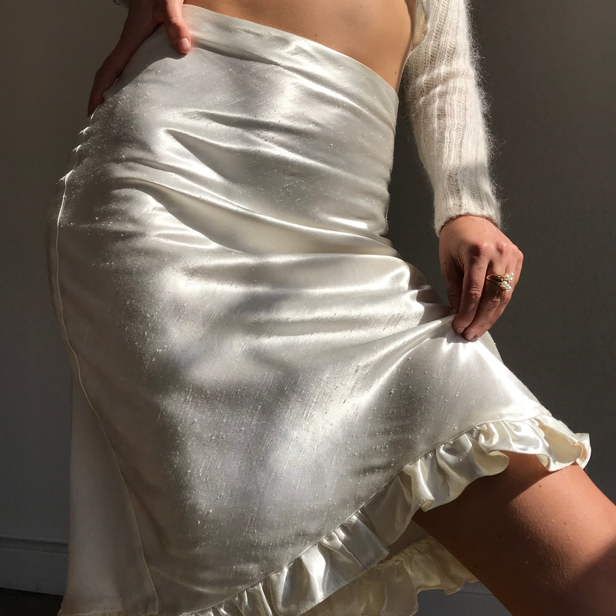 Satin Bias Midi Skirt In Ivory - SAMPLE! $42