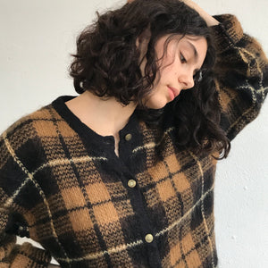 Godiva Plaid Mohair Knit   Size Sm-Md