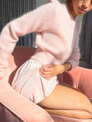 Pale Blush Cropped Mohair Knit - Size Small