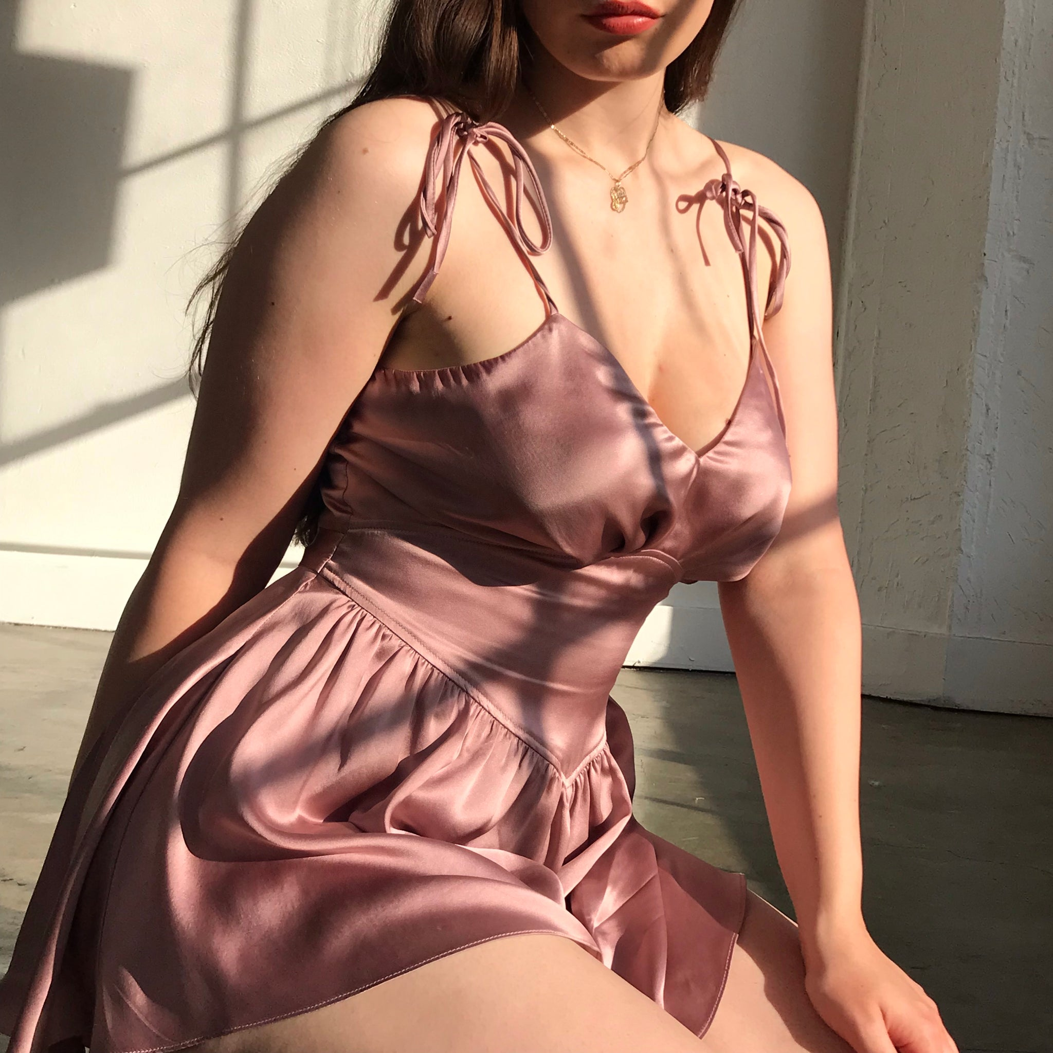 Lucy Silk Teddy In Morning Mauve AT COST $112 ONLY A FEW LEFT