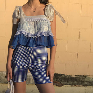 Bettina Cycle Short In True Blue Gingham - AT COST! $32 FINAL SALE