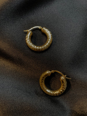 Medusa Carved 14k Hoops - Size Medium