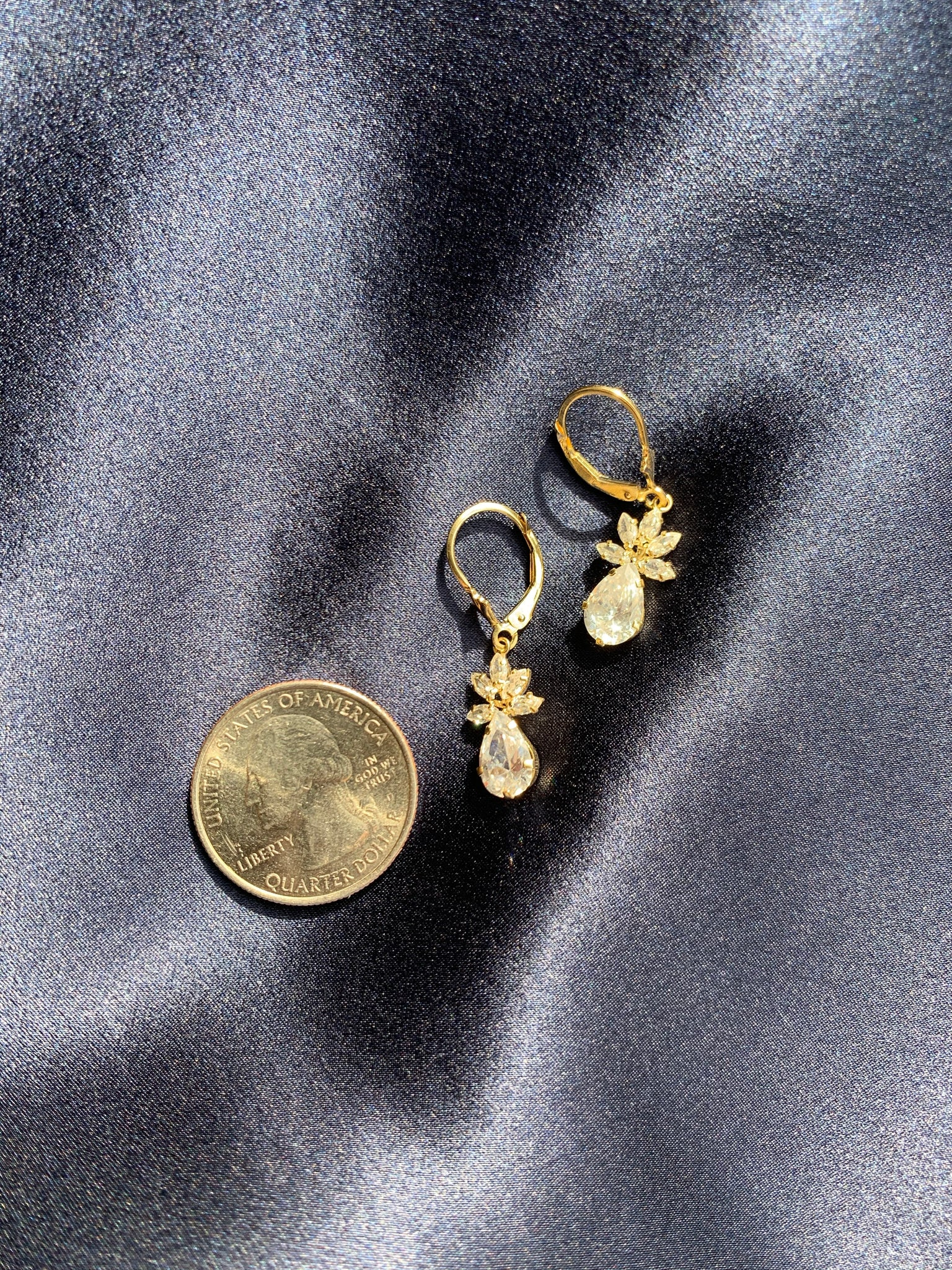 1980s Deco Crystal Drop 14k Earrings
