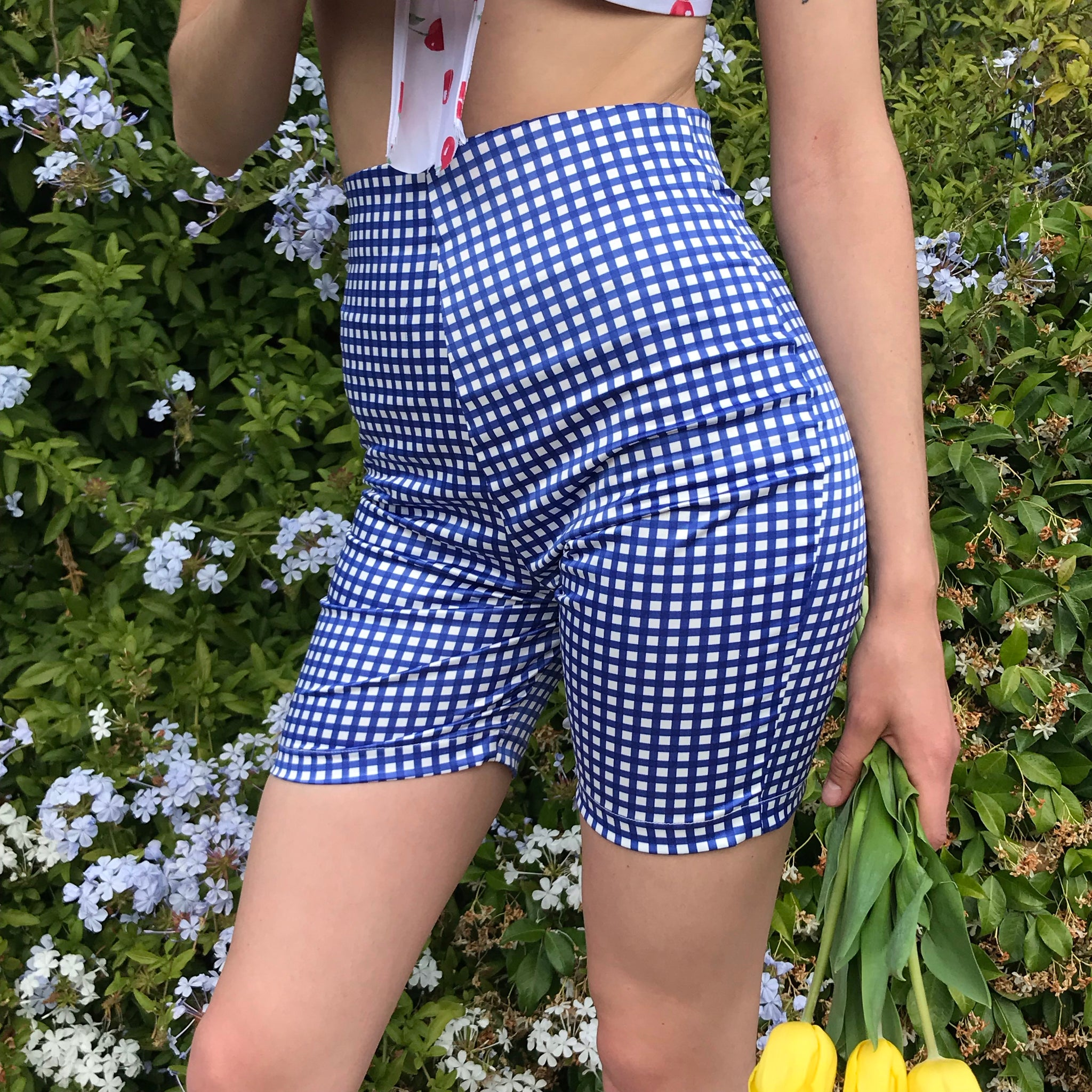 Bettina Cycle Short In True Blue Gingham