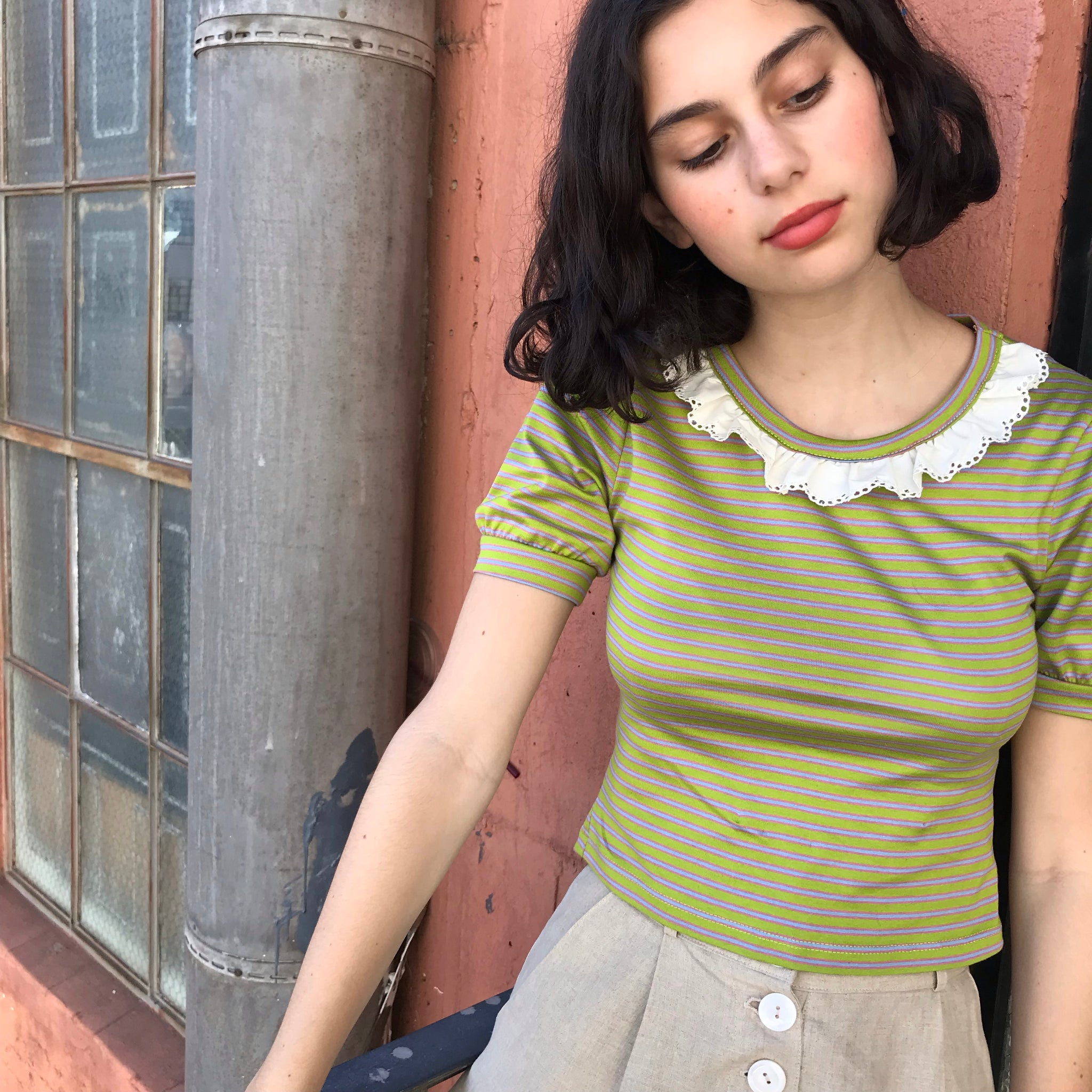 Tully Puff Sleeve Tee In Bobby Stripe AT COST SAMPLE $17 Final Sale