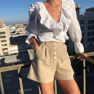 Sissy Pleated Shorts in Almond Linen